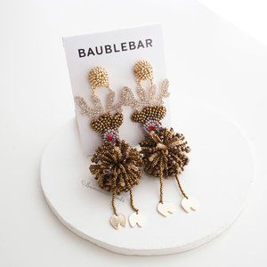 Anthropologie BaubleBar Beaded Reindeer Earrings